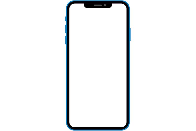 ノッチデザインなブルー系スマートフォン
