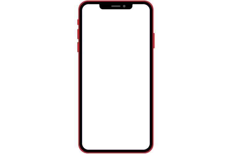 ノッチデザインなレッド系スマートフォン