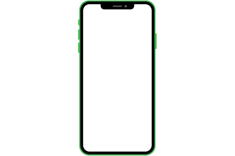 ノッチデザインなグリーン系スマートフォン