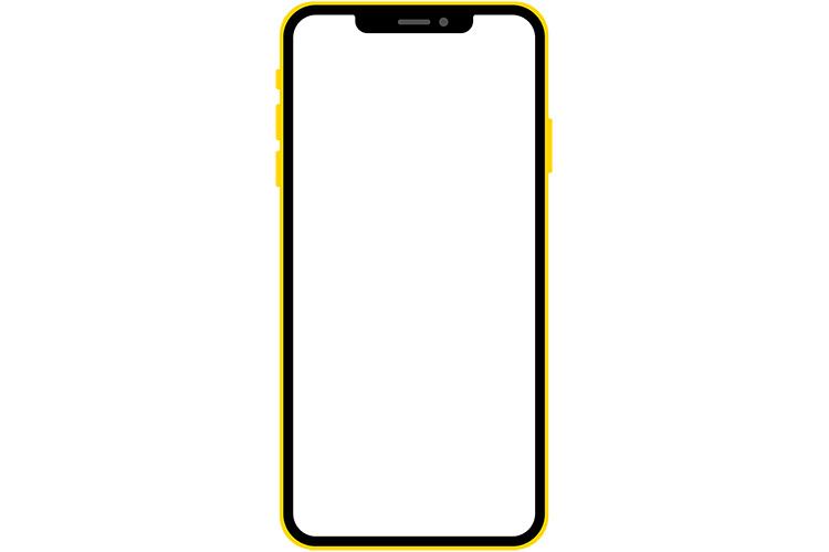 ノッチデザインなイエロー系スマートフォン