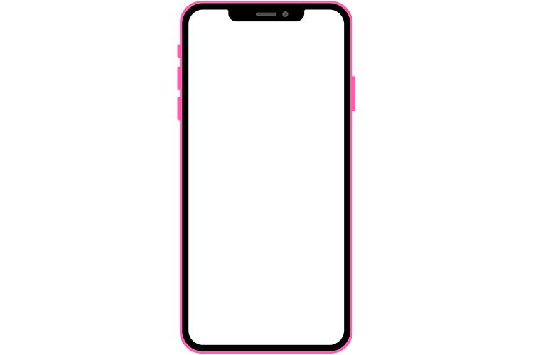 ノッチデザインなピンク系スマートフォン