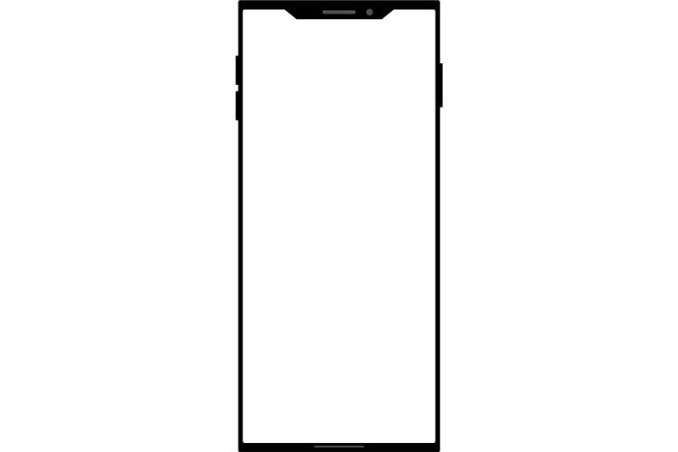角ばったノッチデザインなブラックのスマートフォン