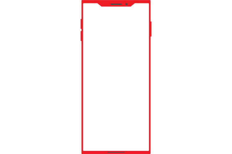 角ばったノッチデザインなレッドのスマートフォン