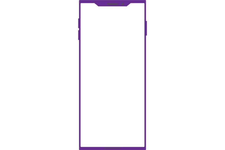 角ばったノッチデザインなパープルのスマートフォン