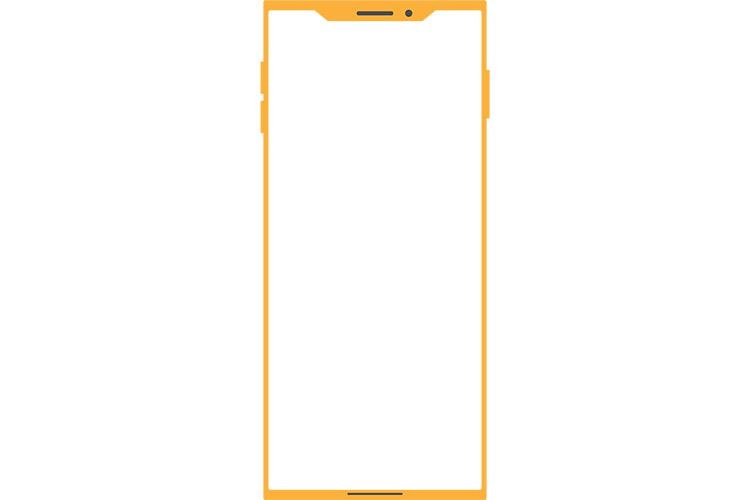 角ばったノッチデザインなイエローのスマートフォン